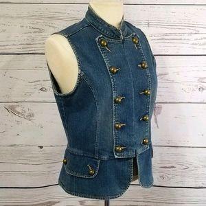 AMI Vintage Distressed Denim Military Style Vest M